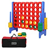JOYMOR Giant Large 4-in-A-Row Game with Storage Bag, Huge 4 Connect in a Row Family Game Indoor Outdoor Party Family Fun for Adults and Kids Quick-Release Slider