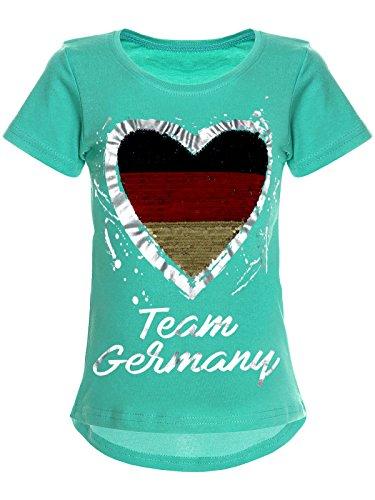 BEZLIT Deutschland Mädchen Wende-Pailletten WM 2018 Fan Fussball T Shirt 22512 Türkis Größe 104