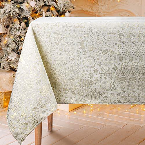 VISTE TU HOGAR Mantel con Hilo Dorado, Mantel Navidad, 140 x 250 CM, Decoración Navideña, Ideal para Navidad y Otras Fechas Especiales, Color Beige