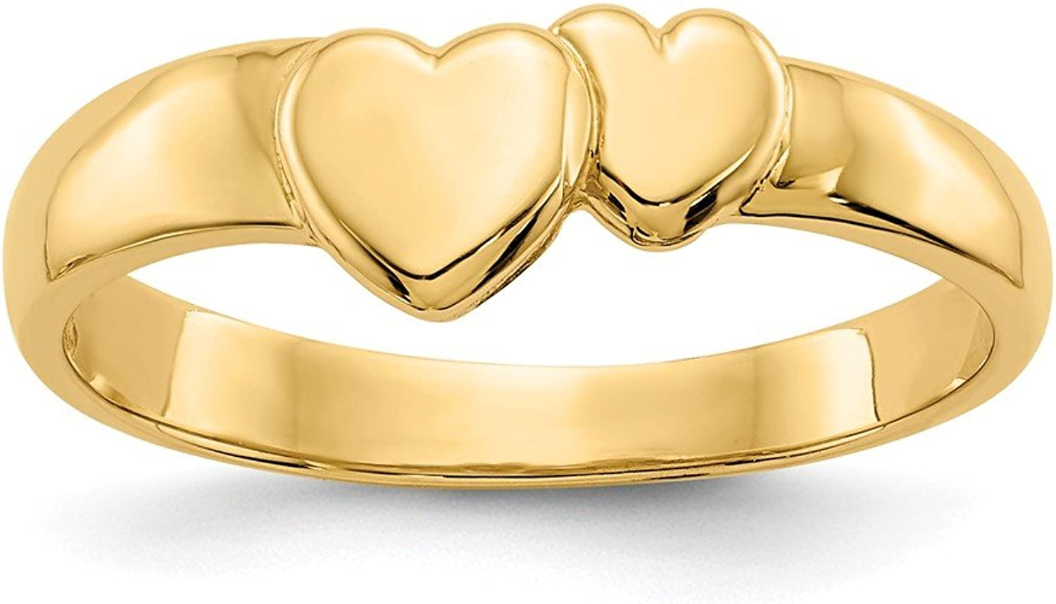 14k Yellow gold gold Hearts Ring for Women Size 6.25