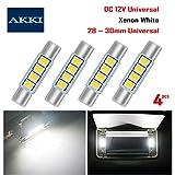 AKKI 4Pcs 28mm 29mm Festoon LED Bulbs, 12V 4-3030 Chipset, 6614F 6612F LED Bulbs for Car Interior Vanity Mirror Sun Visor Lights, Xenon White