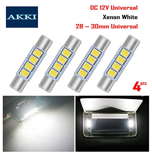 AKKI 4Pcs 28mm 29mm Festoon LED Bulbs, 12V 4-3030 Chipset, 6614F 6612F LED Bulbs for Car Interior Vanity Mirror Sun Visor Lights, Xenon White