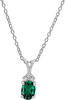 Dazzlingrock Collection 18K 7X5 MM Oval Created Gemstone & Round Diamond Ladies Pendant (Silver Chain Included), White Gold