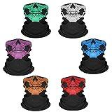 Comius Sharp Máscara de Tubo de Cara de cráneo, 6 Piezas Máscara de Calavera sin Costuras, Elástico Bufanda Respirable Moto Bici Máscara para Hombres,para Halloween.