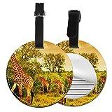 Jirafa - Juego de etiquetas para maleta de piel personalizada, accesorios de viaje, etiquetas redondas para equipaje Negro Negro 4 PCS