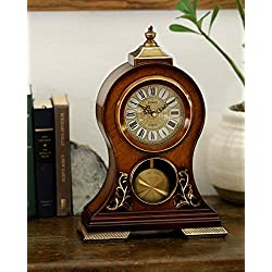 LE'RAZE Elegant Decorative Grandfather Clock, Hand Painted Wood Modern Mantel with Swinging Pendulum Shelf, Tabletop, Desk, Buffet, - Color Mahogany -