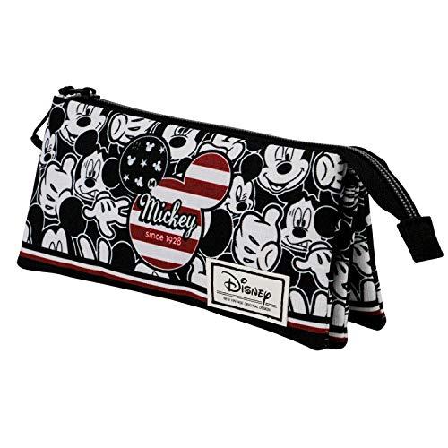 KARACTERMANIA Mickey Mouse U.S.A.-Estuche Portatodo Triple HS, Multicolor