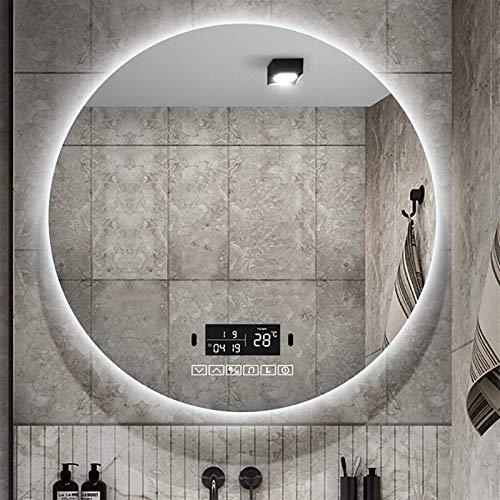 Espejo LED Deluxe - Anti-niebla montada en la pared horizontal o vanidad vertical - altavoz Bluetooth anti-niebla de atenuación LED Interruptor táctil inteligente Control Montado en la pared Inducción