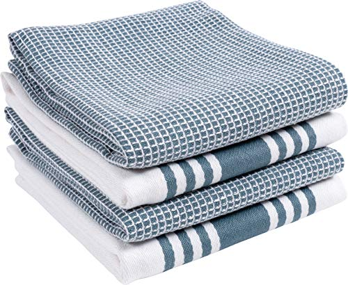 KAF Home Kitchen Towels, Set of 4 Absorbent, Durable and Soft Towels | Perfect for Kitchen Messes and Drying Dishes, 18 x 28 – Inches, Blue