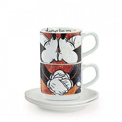 Egan PWM02I/S Set Tazze Caffe, Modello Sweet Love, Porcellana, Rosso, 4 unità