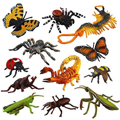 TOYMANY 12PCS Realistic Bugs Figures Toys - Plastic Insects Figurines Set with Bee Beetle Mantis Spider Ladybug Butterfly Scorpion - Halloween Party Favor School Project Gift for Kids Toddlers