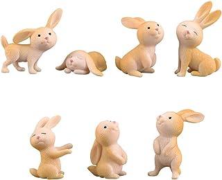 7 Pcs Rabbit Figures for Kids, Animal Toys Set Cake Toppers, Rabbit Figurines Collection Playset for Christmas Birthday Gi...