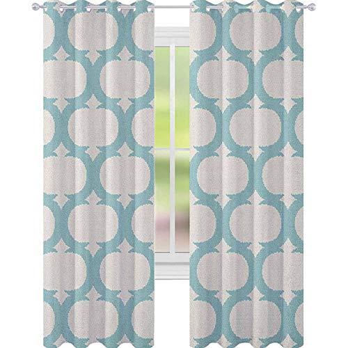 YUAZHOQI Aqua Cortina de ventana con patrón de malla con fi