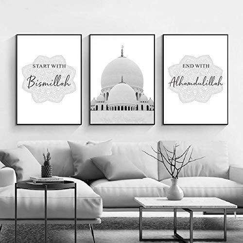 WTYBGDAN Schwarz und Weiß beginnen mit Bismillah Islamic Wall Art Leinwand Poster und Drucke drucken Wandbild für Wohnzimmer Home Decor | 50x70cmx3Pcs / ohne Rahmen