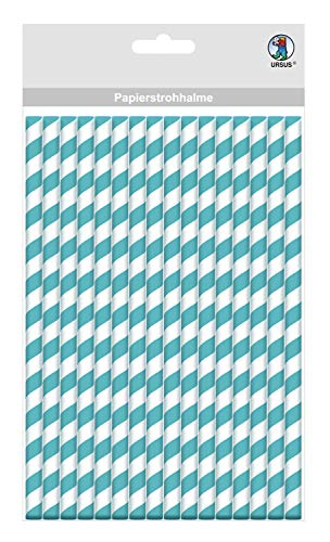 Papieren rietjes met strepen motief in petrol, biologisch afbreekbaar, geschikt voor levensmiddelen, waterbestendig, voor het vormgeven en decoreren, 24 stuks, lengte 19,5 cm, diameter 0,6 cm
