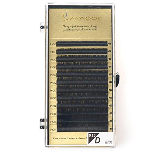 Lunamoon Künstliche Wimpern Natürlich Individuen Falsche Wimpern Einzeln Wimpernverlängerung Handgefertigte for Makeup D-Curl 0.10mm 0.15mm 7-14mm (D X 0.15mm)