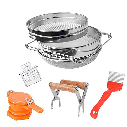 Honey Harvesting Beekeeping Starter Tool Kit,Set of 5, Double Sieve Stainless Steel Honey Strainer, Frame Holder, Uncapping Fork, Honey Gate Extractor and Bee Queen Catcher for Beekeeping Supplies