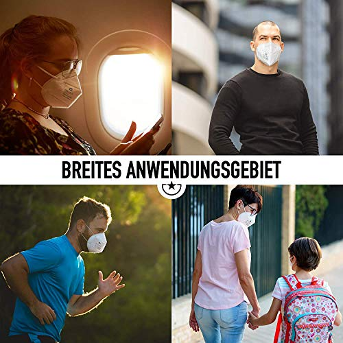 """10x FFP2 Mundschutz Maske – Test: """"SEHR GUT"""" DECADE Maske 4 Lagig – Made in Germany - Mund und Nasenschutz, Einmalmasken EINZELVERPACKT Maske N95 Schutzmaske KN95 - 4"""