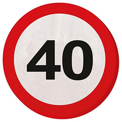 Folat Lot de 20 serviettes en papier triple épaisseur pour anniversaire 40 ans Motif signalisation routière 15,5 cm