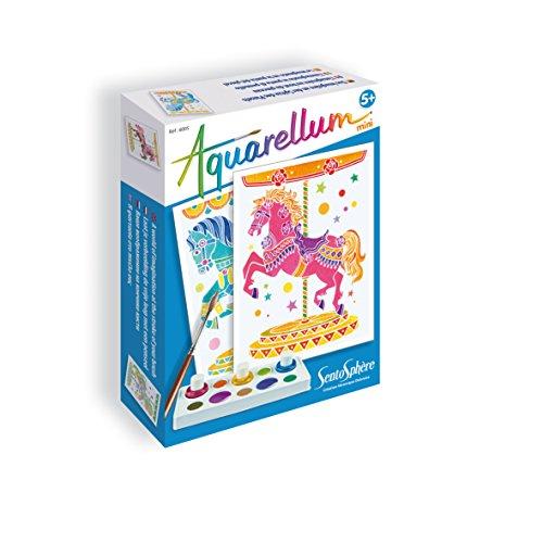 Sentosphere 06005 - Aquarellum Mini: Pferdekarussell Set mit 2 Ausmalbildern 12 x 16 cm, 3 Tintenflakons, Mischpalette, Pipette und Pinsel