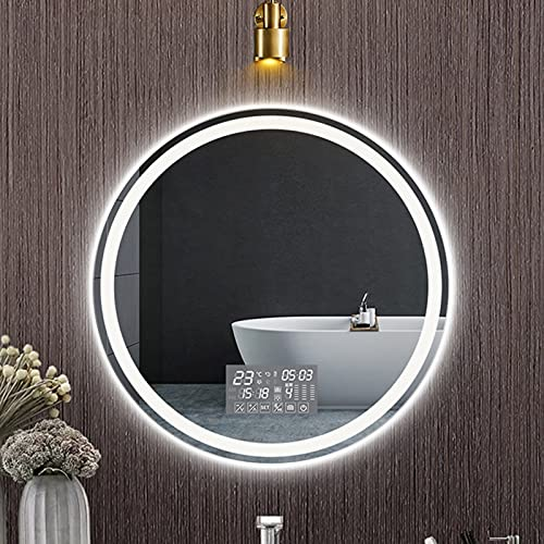 QFFL Espejo de Baño LED con Bluetooth, Táctil de 6 Botones, Atenuación Continua, Espejo de Maquillaje de Vanidad, Anti Niebla, Regalo de Bodas (Size : 70cm/28in)