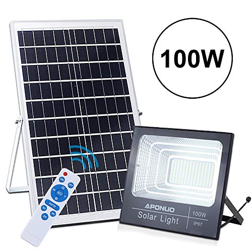 100W Solar Powered Street Flood Lights,...