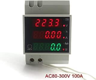 KETOTEK Power Meter AC Digital Multimeter Voltage Current Electricity Power Meter 80-300V 0-100A Built-in Transformer Voltmeter Ammeter Power Meter Din Rail Volt Amp