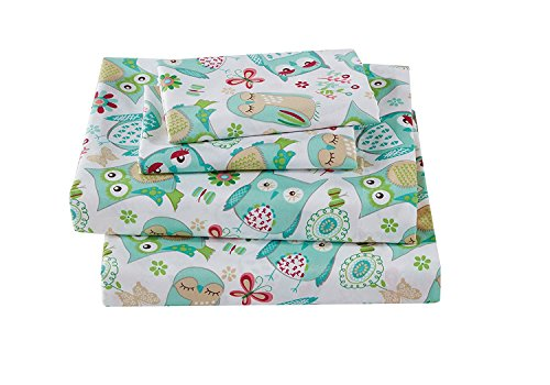 Mk Collection 3pc Baby Girl Crib Sheet Set Owl Teal Green Aqua New