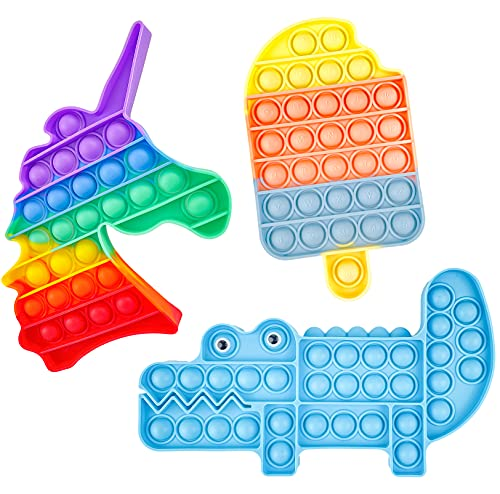 Pop Bubble Sensorial Fidget Toy Set, Push Bubble Silicona Apretón Sensorial Fidget Juguetes Stress Reliever Anti-Ansiedad Toy 3 Pack (Cocodrilo)
