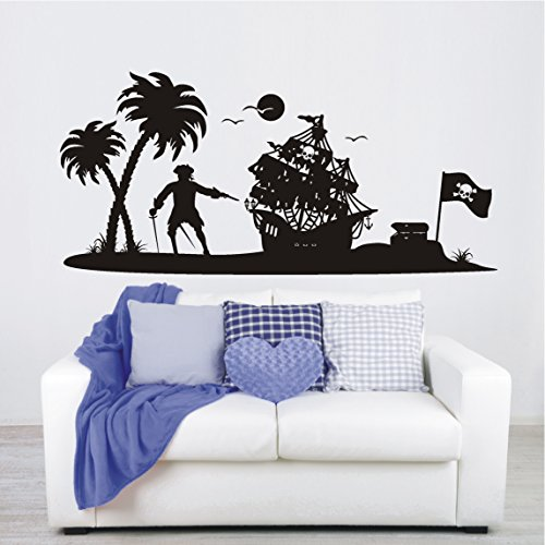 HomeTattoo ® WANDTATTOO Wandaufkleber Pirateninsel Pirat Schiff Kinderzimmer Schatz 557 XL ( L x B ) ca. 58 x 125 cm (flieder 042)