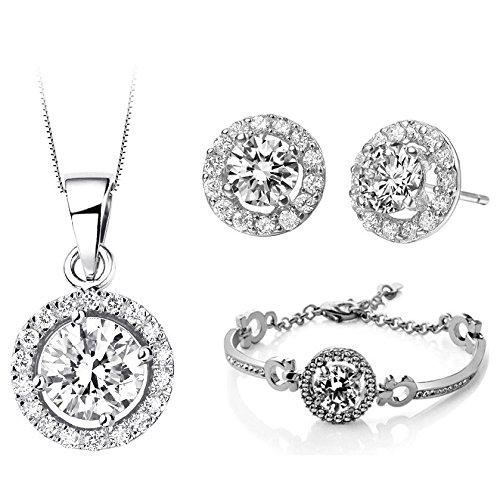 Bridal Luxus Schmuckset Set weiß mit Ohrstecker Halskette, Armband S650
