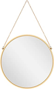 Wall Hanging Mirror Dia 17.7 inch Gold Brass Round Decorative Wall-Mounted Metal Mirror with Hanging Chain for Home Bathroom