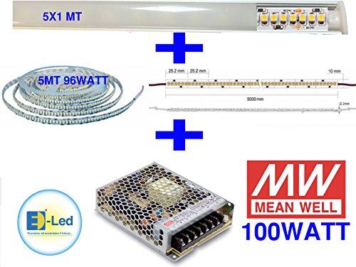 E-lED Kit LED Plafonnier lumière blanche chaude 5 m strip HP 1200LED + profils aluminium (5 x 1mt) + alimentation meanweel 100 W – 24 VDC 230 VAC
