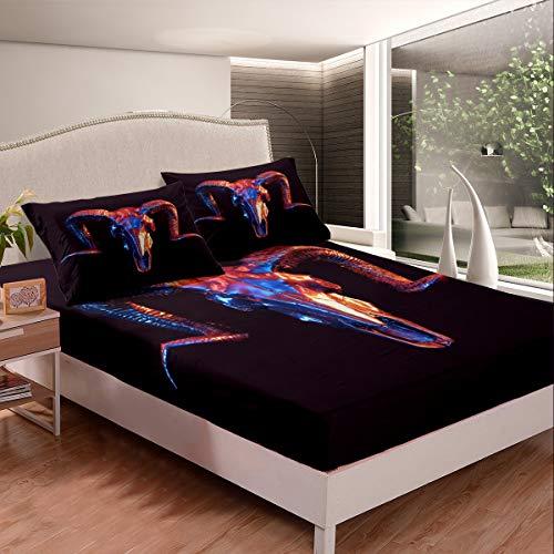 Loussiesd - Juego de sábanas con diseño de calavera de toro, diseño de calavera para niños, 3 unidades, color negro