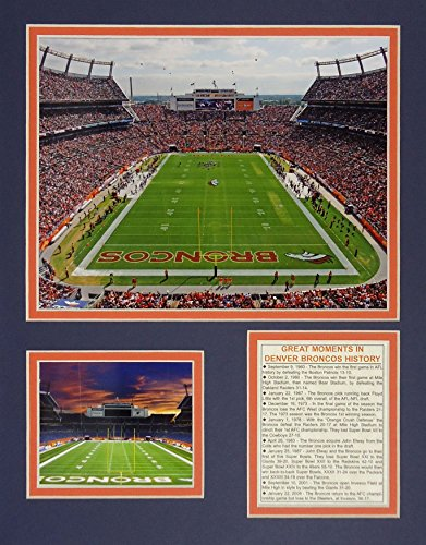 Denver Broncos NFL Framed 8x10 Photograph Team Logo and Football Helmet Collage