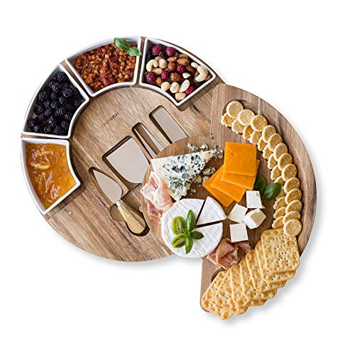 Cheese Cutting Board Set - Charcuterie Board Set and Cheese Serving Platter. US Patented 13 inch Meat/Cheese Board and Knife Set for Entertaining and Serving - 4 Knives and 4 Bowls Server Plate