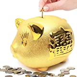 Gold Piggy Bank ~ 招財進寶 We Wish You Wealth and Success Saving Box Piggy Bank Coin Bank For Home Decor, Holiday and Birthday Gift ~ Mose Cafolo