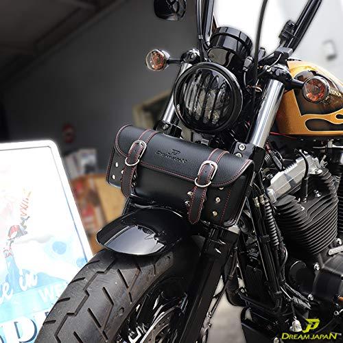 【Dream-Japan】バイク ツールバッグ ワンタッチ型 黒 ブラック 内ポケット付き 簡単取り付け 【当店オリジナル】 アメリカン 小物入れ 工具入 ハーレー/マグナ (白ステッチ)