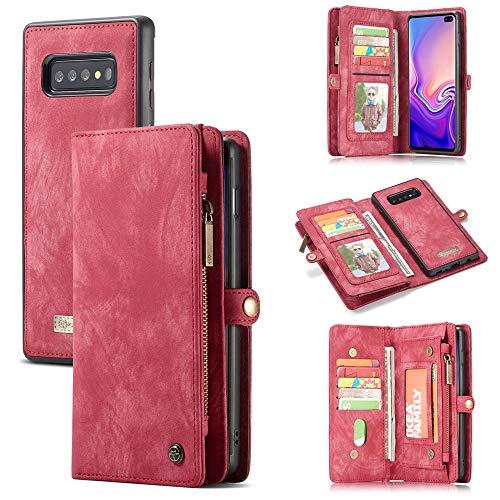 Funda para Galaxy S10 Plus (6,4 pulgadas) SM-G975, multifuncional, con cremallera, tipo divisor, diseño desmontable, funda de piel sintética, color rojo