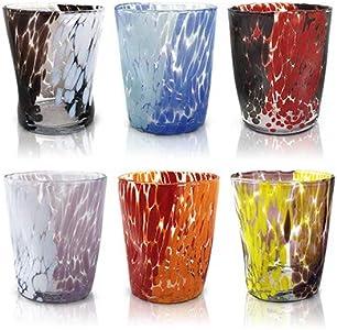 """MAZZEGA ART & DESIGN Juego de 6 vasos de agua """"Tumbler'' de cristal de color estilo murano. Modelo """"Naif""""."""