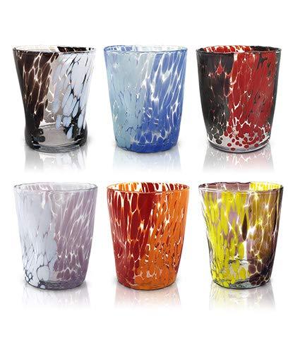 """Mazzega Art & Design Juego de 6 vasos de agua """"Tumbler"""" de cristal de color estilo murano. Modelo """"Naif""""."""