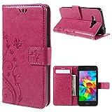 jbTec Handy Hülle Hülle Schmetterlinge passend für Samsung Galaxy Grand Prime - Schutz Tasche Smartphone Flip Cover Phone, Farbe:Deep Pink