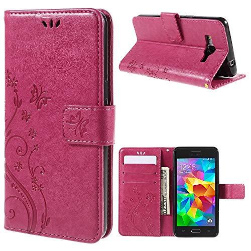 jbTec Handy Hülle Case Schmetterlinge passend für Samsung Galaxy Grand Prime - Schutz Tasche Smartphone Flip Cover Phone, Farbe:Deep Pink