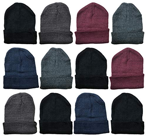 Yacht & Smith Mens Womens Warm Winter Hats in Assorted Colors, Mens Womens Unisex (12 Pack Assorted Solids (B))