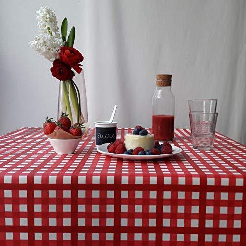 Fleur de Soleil - Nappe enduite Guinguette Rouge Dimension - Carrée 160x160cm, Finition - Ourlée, Matière - Coton enduit
