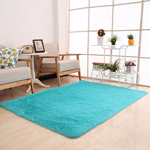 Fabal Fluffy Rugs Anti-Skid Shaggy Area Rug Dining Room Home Bedroom Carpet Floor Mat (Sky Blue)