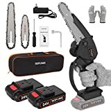 SOFUWG Mini Chainsaw 6 Inch, 24V Portable Cordless Chainsaw, Small Electric Chainsaw With 2 Batteries 2 Chains and Safety Lock, One Hand Use Battery Chainsaw for Tree Trimming Wood Cutting