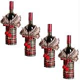 VDECORS Bolsas de vino, a cuadros, cubierta de botella de vino, suéter de piel sintética de Navidad, bolsa de titular de botellas de vino, bolsas para cena de Navidad