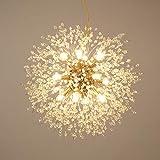 Feimiao Modern Chandeliers Firework LED Ambient Lighting Fairy Crystal Pendant Lights Golden Ceiling Light Fixtures for Bedroom Restaurant G9 Bulbs 12-Lights 21.7INCH Natural Light 4200K