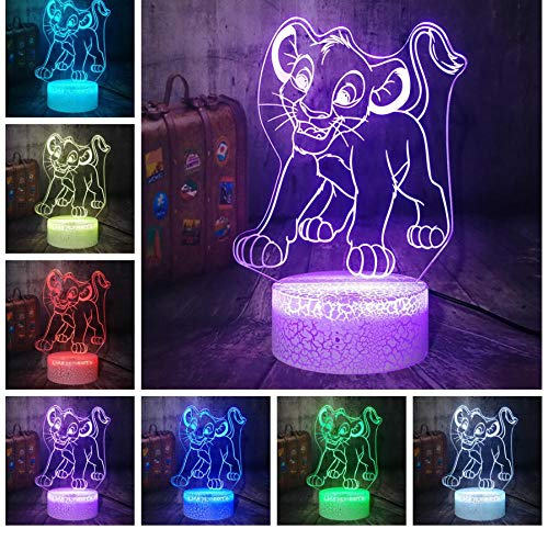 Lion King Little Simba 3D LED Night Light RGB 7 Color Lámpara de mesa Decoración del hogar Niño Niño Regalo Fuente de alimentación USB